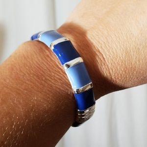Silver Toned with Blue Bracelet